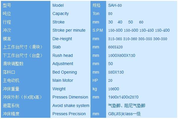 80T高速精密冲床-C型80吨高速冲床详细参数配置